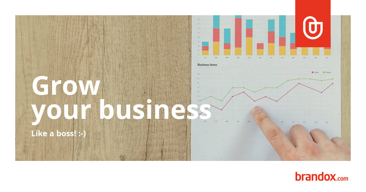 Image of business growth charts with text 'Grow your business like a boss'